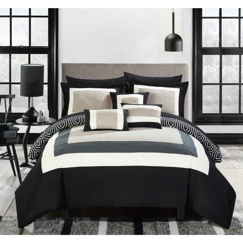 Chic Home Heldin 10 Piece Black Reversible Hotel Collection Comforter Set Bed in a Bag