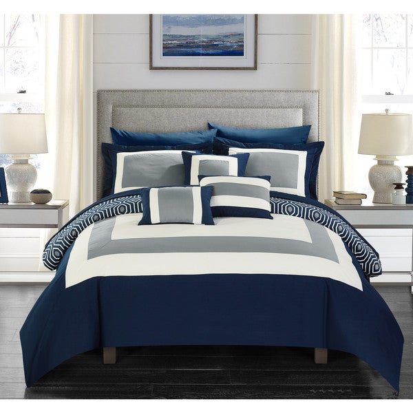 Reviews On Hotel Collection Bedding: Shop Chic Home Heldin 10 Piece Navy Reversible Hotel