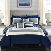 Chic Home Heldin 10 Piece Navy  Reversible Hotel Collection Comforter Set Bed in a Bag