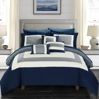 Amazing Chic Home Heldin 10 Piece Navy Reversible Hotel Collection Comforter Set  Bed In A Bag