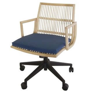 Virza Natural Rattan Office Desk Chair With Cushion