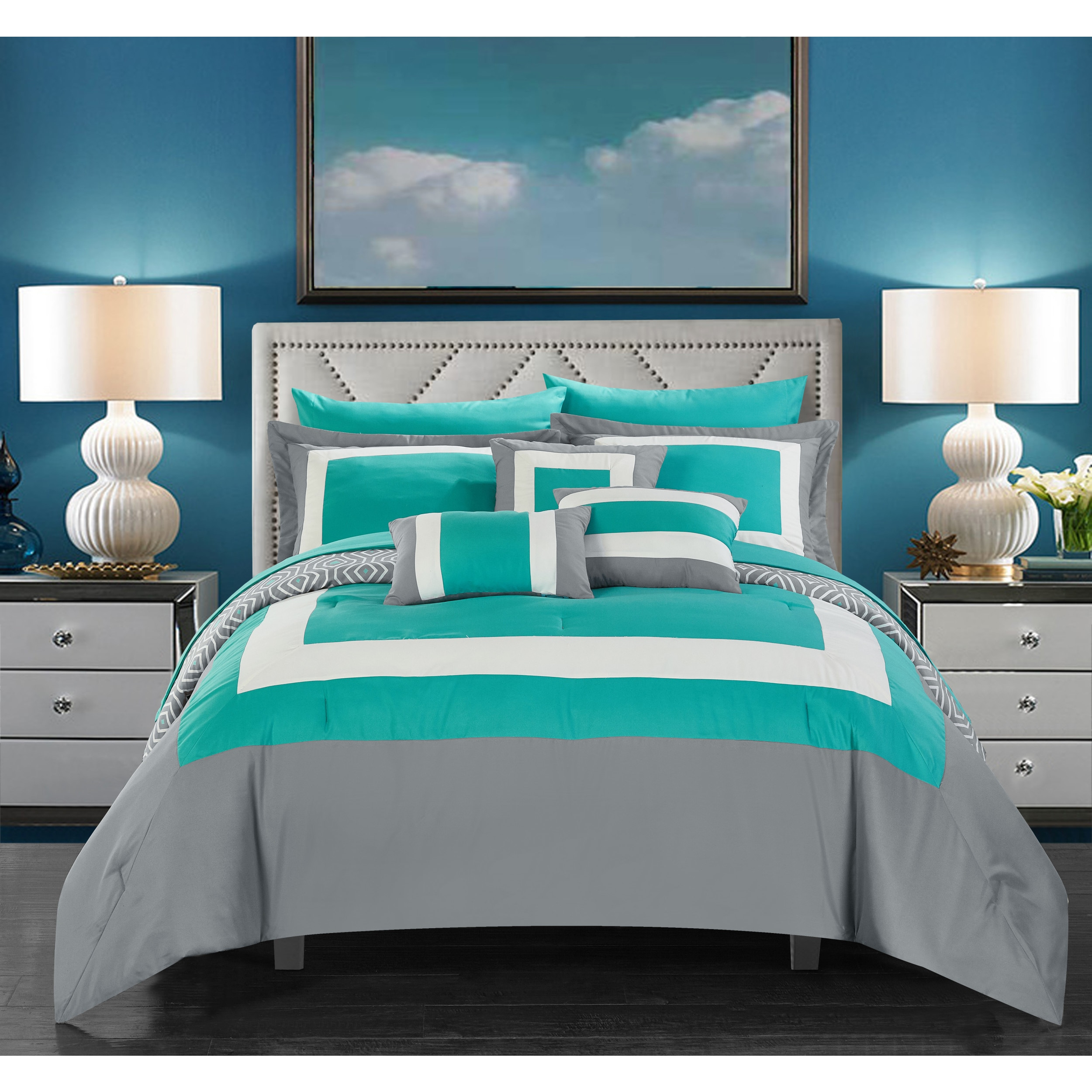Chic Home Heldin 10 Piece Turquoise Reversible Hotel Collection Comforter  Set