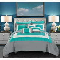 Chic Home Heldin 10 Piece Turquoise Reversible Hotel Collection Comforter Set Bed in a Bag