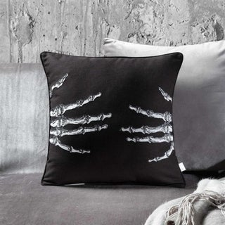 Black and White Embroidery Skellington Decorative Throw Pillow