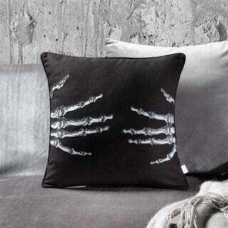 Black and White Embroidery Skellington Decorative Throw Pillow
