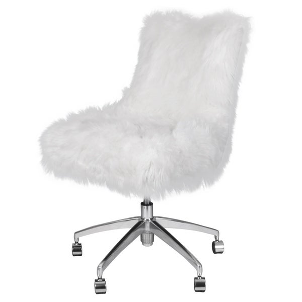 Rhona Faux Fur Office Desk Chair  sc 1 st  Overstock.com & Shop Rhona Faux Fur Office Desk Chair - Free Shipping Today ...