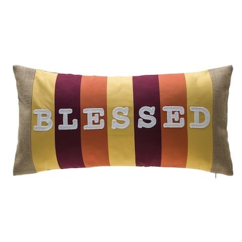 Stripe Patchwork 100% Cotton Lumbar Pillow