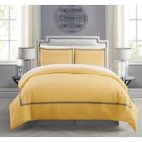 Chic Home Krystel Hotel Collection Yellow Banded Print Duvet Cover and Sheet Set