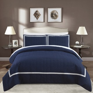 Chic Home Krystel Hotel Collection Navy Banded Print Duvet Cover and Sheet Set