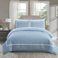 Chic Home Krystel Hotel Collection Blue Banded Print Duvet Cover and Sheet Set