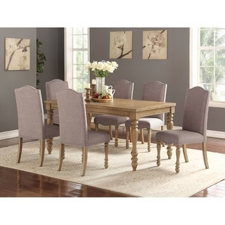 Albury Oak Contemporary Dining Chair With Grey Fabric Upholstery (Set Of 6)