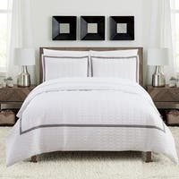 Chic Home Krystel Hotel Collection White and Grey Banded Print Duvet Cover and Sheet Set