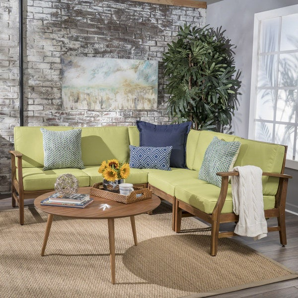 Ulrick Farmhouse Modern 5-piece Fabric Sectional Sofa Set by Christopher Knight Home