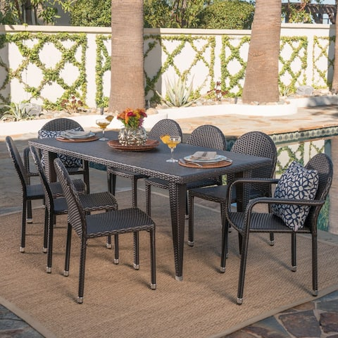 Aurora Outdoor 9-piece Rectangular Wicker Aluminum Dining Set by Christopher Knight Home