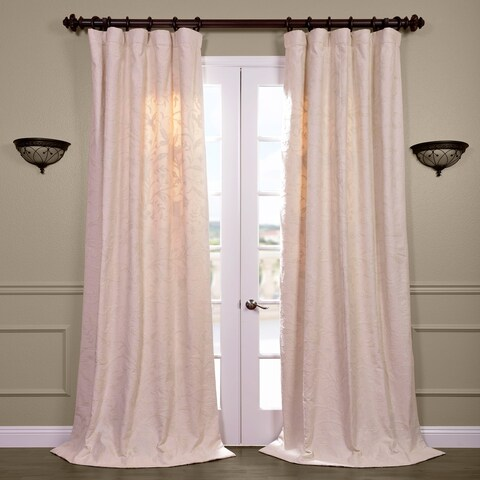 Exclusive Fabrics Aurora Embroidered Cotton and Crewel Curtain Panel