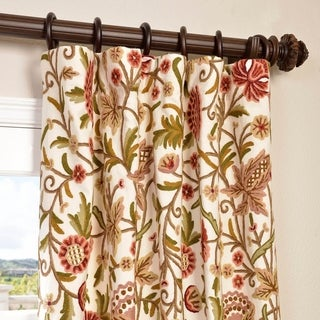 Exclusive Fabrics Paloma Cotton Embroidered Crewel Curtain