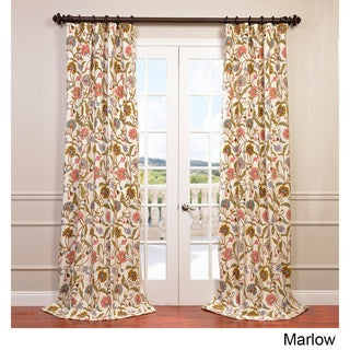 Exclusive Fabrics Marlow Embroidered Cotton/Wool Floral Crewel Curtain Panel