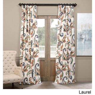 Exclusive Fabrics Laurel Embroidered Cotton Crewel Curtain