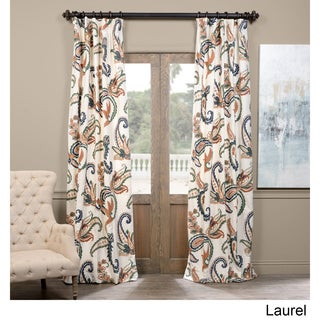 Exclusive Fabrics Laurel Embroidered Cotton Crewel Curtain