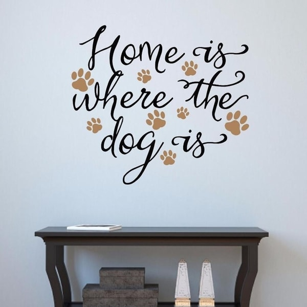 shop home is where the dog is vinyl decal wall sticker 18 x 17 - on