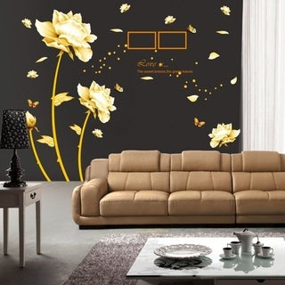 Beautiful Peony Flowers Butterflies Photo Frame Wall Decals 35 x 23 Wall Vinyl