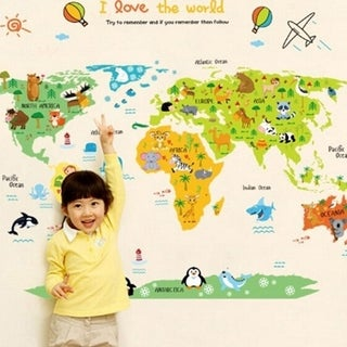 I love the World Wall Map Color Wall Vinyl 35 x 23
