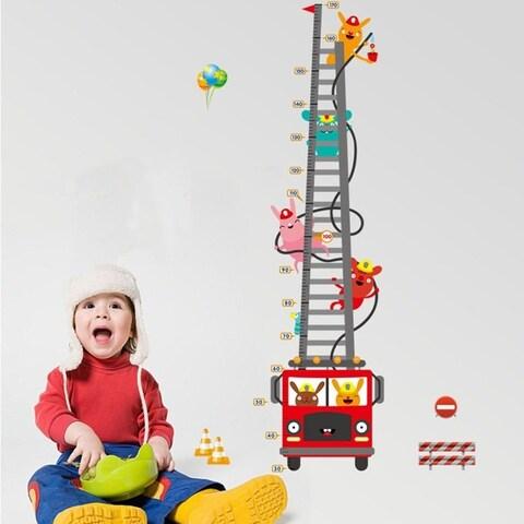 Cartoon Fire Truck Fireman Height Chart Decals 23 x 34 Wall Vinyl