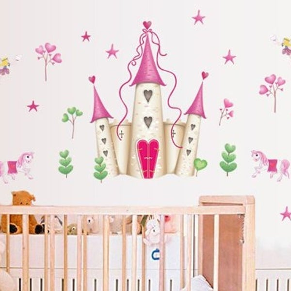 Cartoon Princess Castle Wall Decals Childrenu0026#x27;s Room Nursery Removable Wall 35 x  sc 1 st  Overstock.com & Shop Cartoon Princess Castle Wall Decals Childrenu0027s Room Nursery ...