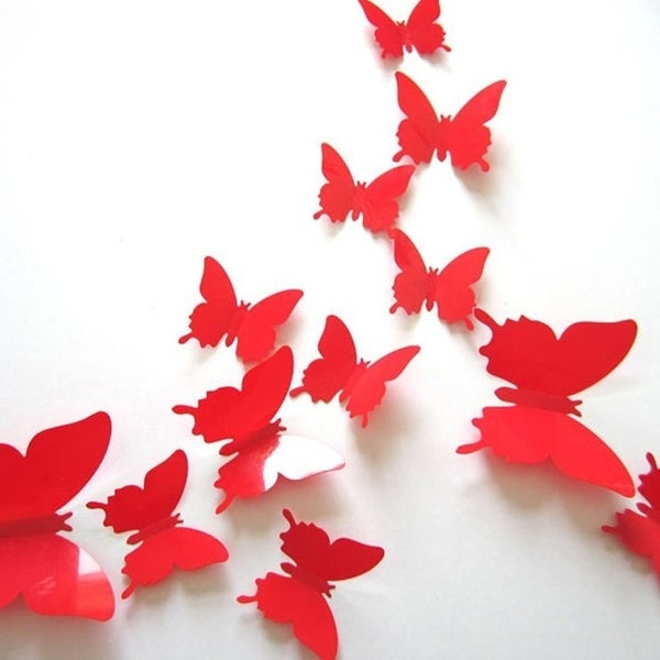 12 Pcs 3D Butterflies Wall Stickers Fashion Design DIY Butterfly Art Red  Wall Vinyl 11