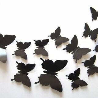 12-Pcs 3D Butterflies Wall Stickers Fashion Design DIY Butterfly Art Black Wall Vinyl 11 x 11