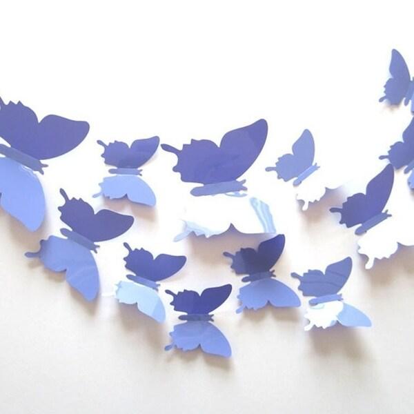 Shop 12-Pcs 3D Butterflies Wall Stickers Fashion Design DIY ...