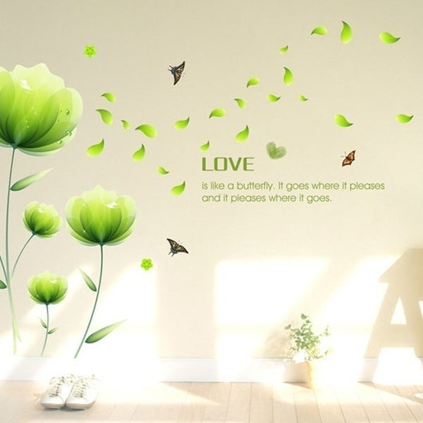 Beautiful Green Flowers Wall Decals, Living Room Bedroom Removable Wall Stickers 23 x 35 Wall Vinyl