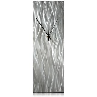 Helena Martin 'Silver Waves Desk Clock' 6in x 18in x 6in Modern Table Clock on Natural Aluminum