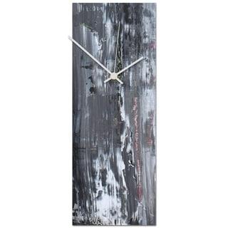 Celeste Reiter 'Urban Slate Clock' 6in x 16in Modern Wall Clock on Metal