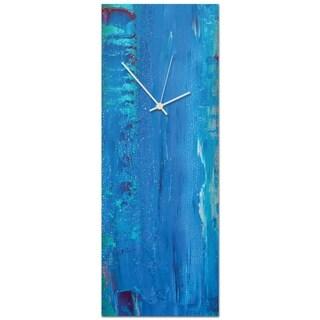 Celeste Reiter 'Urban Blue Clock Large' 9in x 24in Modern Wall Clock on Metal