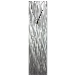 Helena Martin 'Silver Waves Clock' 6in x 24in Contemporary Wall Clock on Natural Aluminum