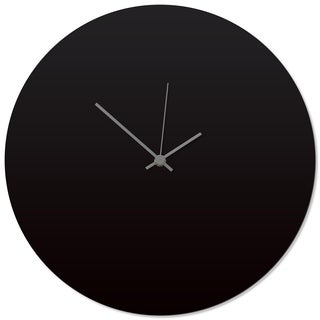 Adam Schwoeppe 'Blackout Grey Circle Clock' 16in x 16in Contemporary Clock on Aluminum Polymetal