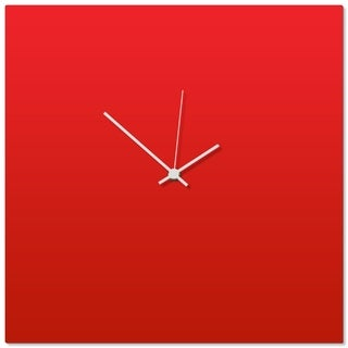 Adam Schwoeppe 'Redout White Square Clock' 16in x 16in Contemporary Clock on Aluminum Polymetal