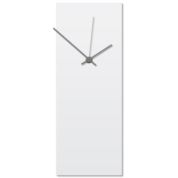 Adam Schwoeppe 'Whiteout Grey Clock' 6in x 16in Contemporary Clock on Aluminum Polymetal
