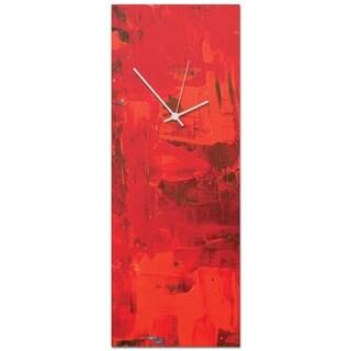 Celeste Reiter 'Urban Red Clock Large' 9in x 24in Modern Wall Clock on Metal
