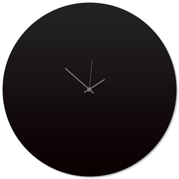 Adam Schwoeppe 'Blackout Grey Circle Clock Large' 23in x 23in Contemporary Clock on Aluminum Polymetal
