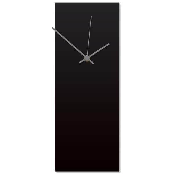 Adam Schwoeppe 'Blackout Grey Clock' 6in x 16in Contemporary Clock on Aluminum Polymetal
