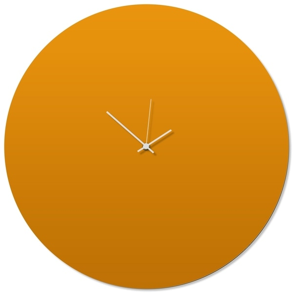Adam Schwoeppe 'Orangeout White Circle Clock Large' 23in x 23in Contemporary Clock on Aluminum Polymetal