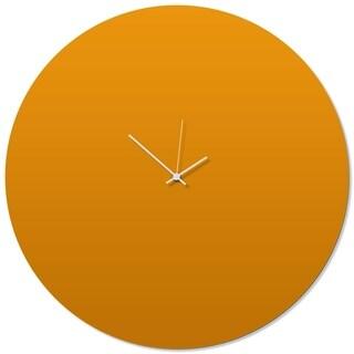 Adam Schwoeppe 'Orangeout White Circle Clock Large' 23in x 23in Contemporary Clock on Aluminum Polymetal