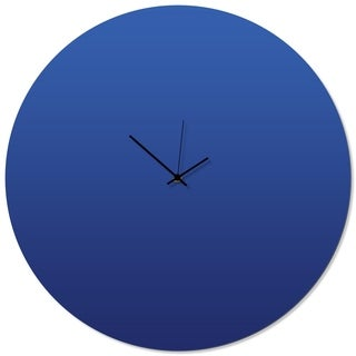 Adam Schwoeppe 'Blueout Black Circle Clock Large' 23in x 23in Contemporary Clock on Aluminum Polymetal