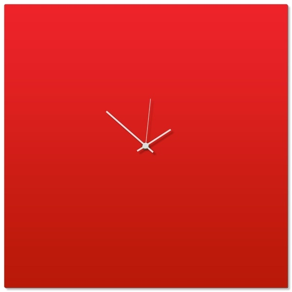 Adam Schwoeppe 'Redout White Square Clock Large' 23in x 23in Contemporary Clock on Aluminum Polymetal