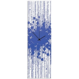 Adam Schwoeppe 'Blue Paint Splatter Clock' 9in x 30in Contemporary Decor on Plexiglass