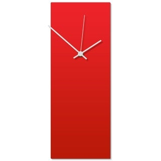 Adam Schwoeppe 'Redout White Clock' 6in x 16in Contemporary Clock on Aluminum Polymetal