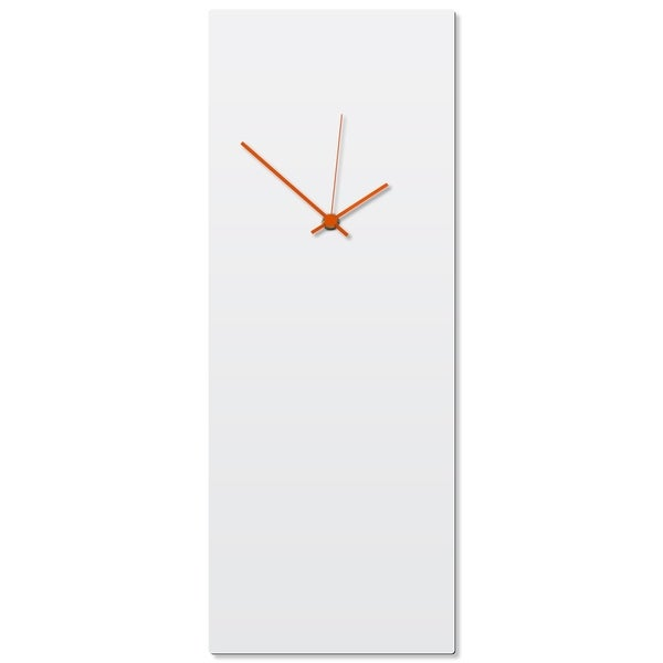 Adam Schwoeppe 'Whiteout Orange Clock Large' 8.25in x 22in Contemporary Clock on Aluminum Polymetal