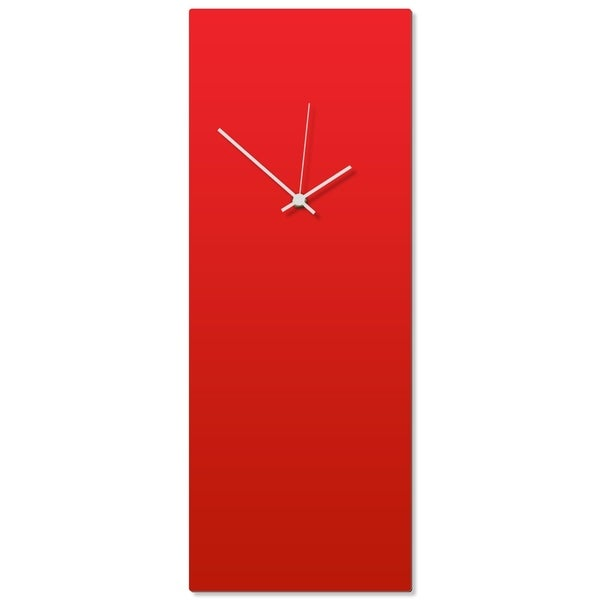 Adam Schwoeppe 'Redout White Clock Large' 8.25in x 22in Contemporary Clock on Aluminum Polymetal